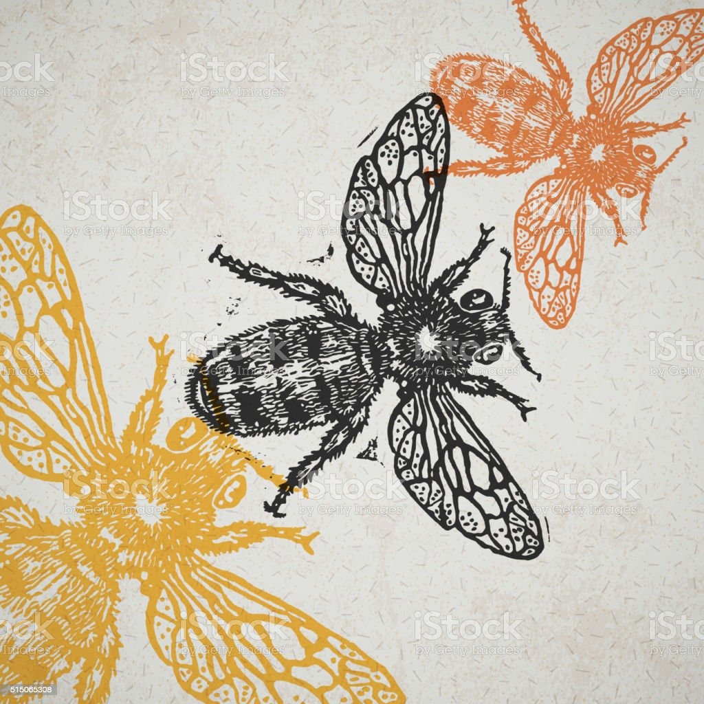 Vector bee in abstract composition vector art illustration