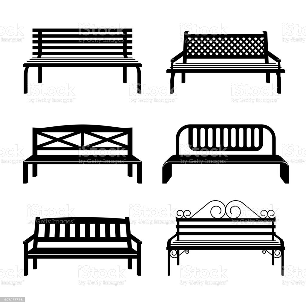 Vector benches. Bench black silhouettes vector art illustration