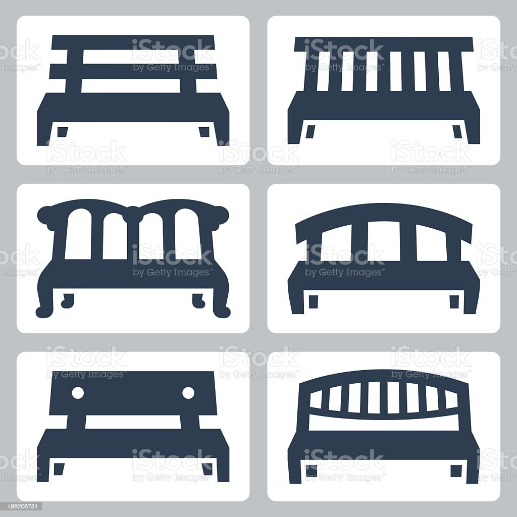 Vector benches icons set vector art illustration