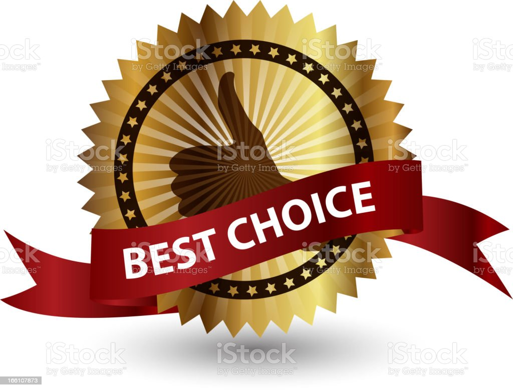 Vector best choice  label with red ribbon. royalty-free stock vector art