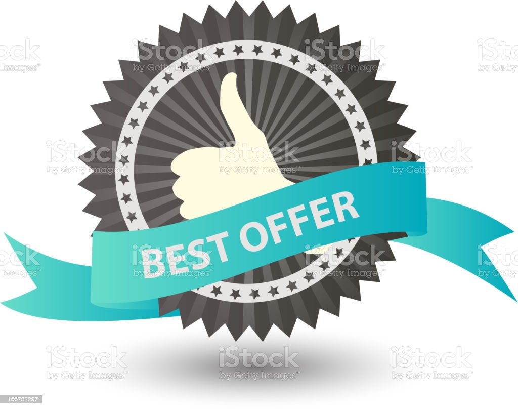 Vector Best offer label with blue ribbon. royalty-free stock vector art