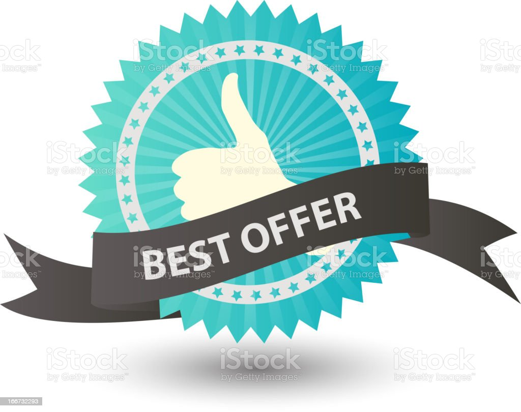 Vector Best offer label with gray ribbon. royalty-free stock vector art