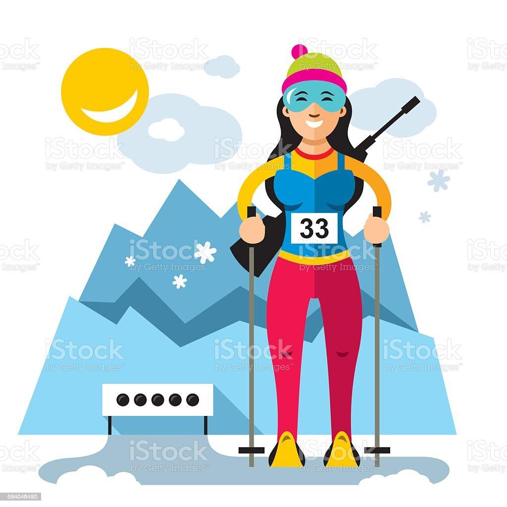 Vector Biathlon Concept. Flat style colorful Cartoon illustration. vector art illustration
