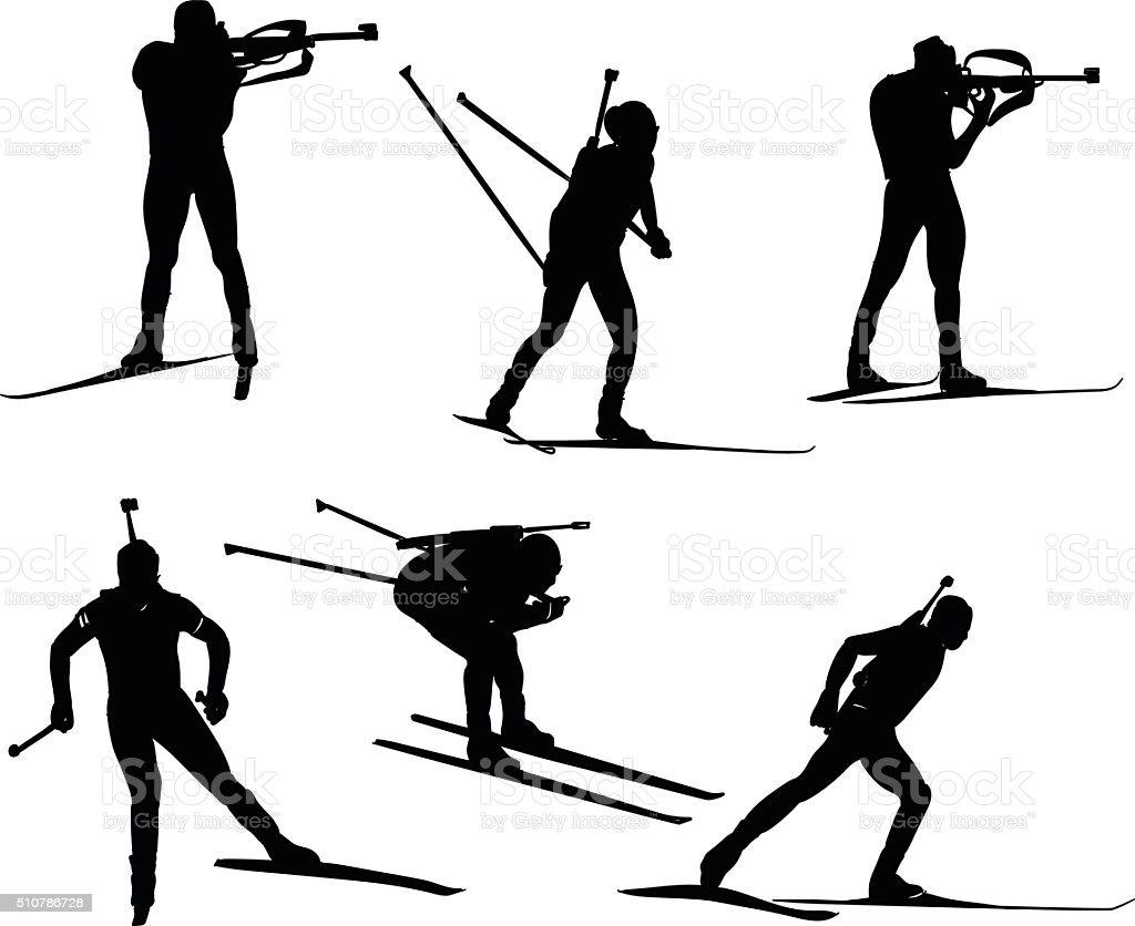 vector biathlon set vector art illustration