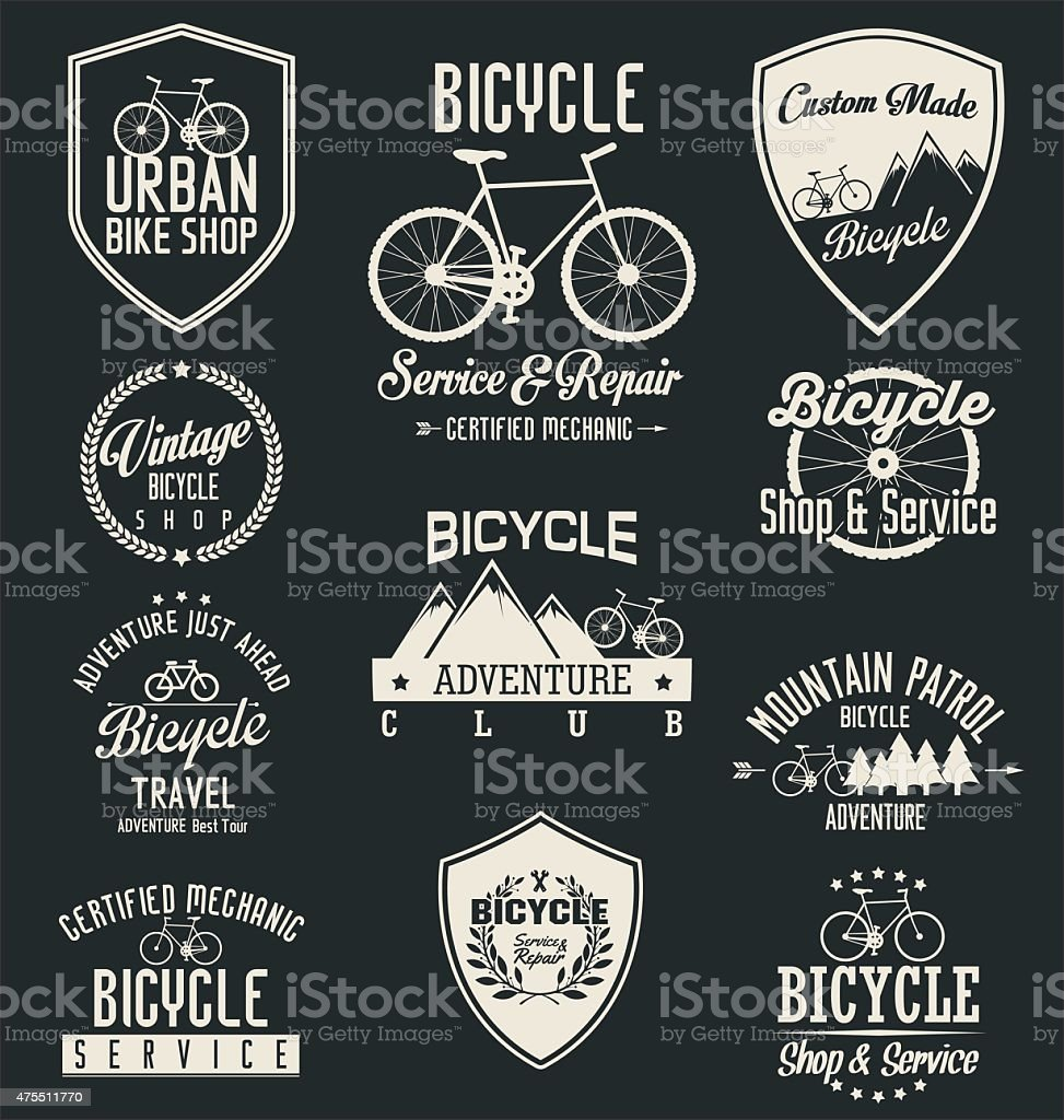 Vector bicycle badges and labels vector art illustration