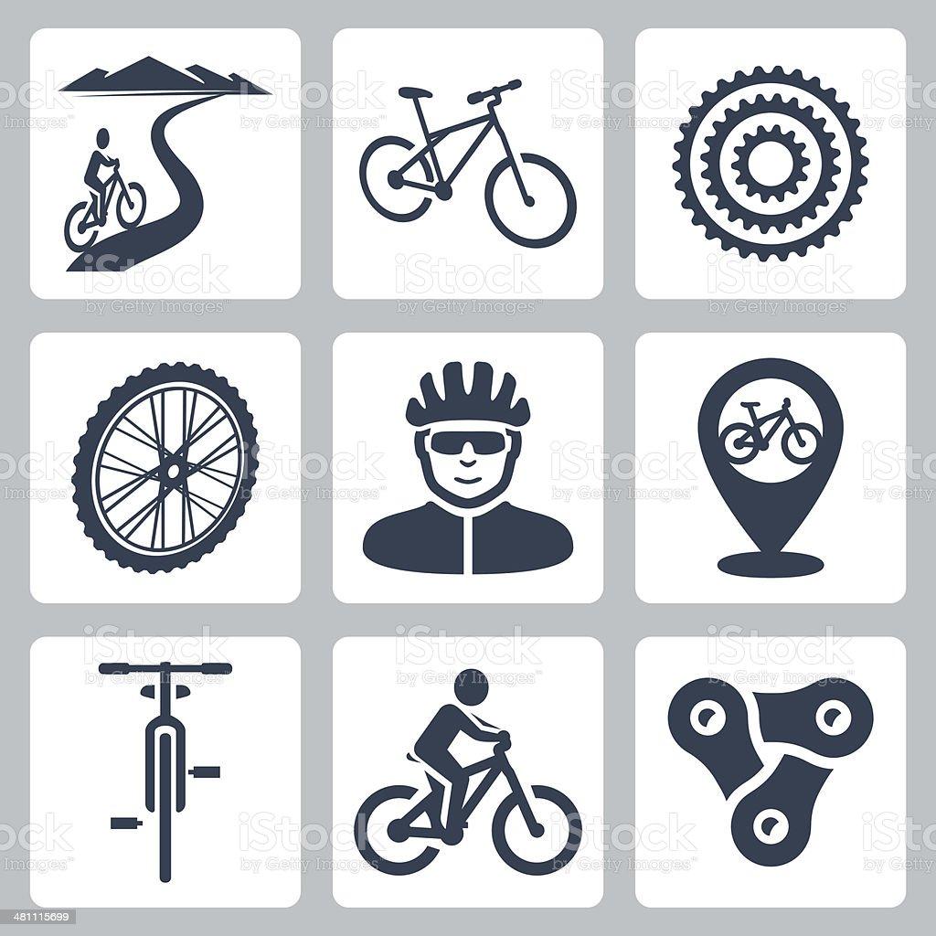 Vector bicycling, cycling icons set vector art illustration