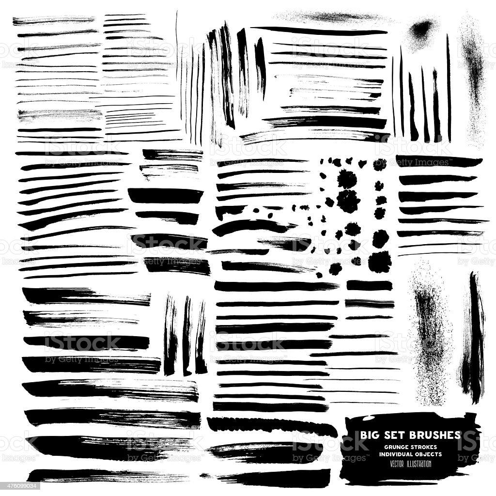 Vector Big Set of brushes ink vector art illustration