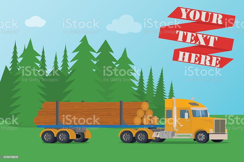 Vector big timber wood truck loaded with logs. vector art illustration