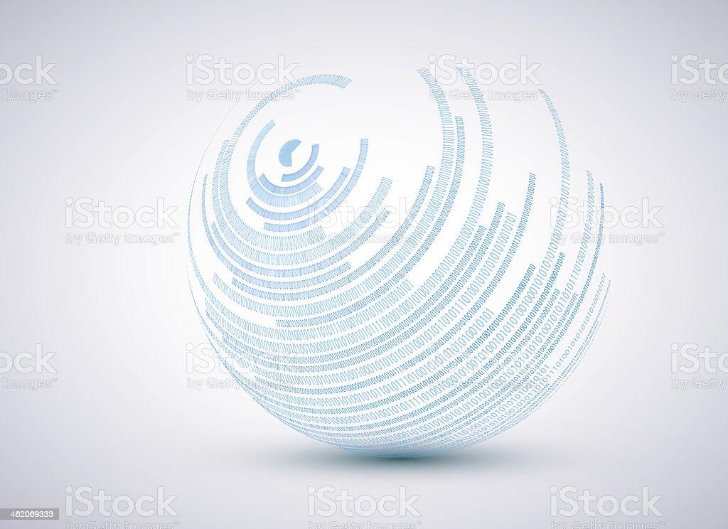 Vector binary sphere background. vector art illustration