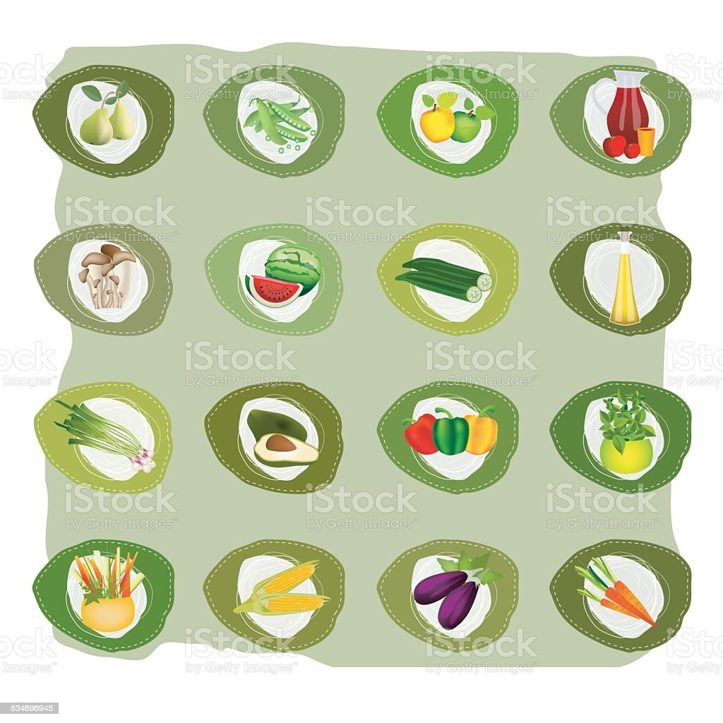 Vector bio health vegetable, fruit, oil and mushrooms stickers. vector art illustration