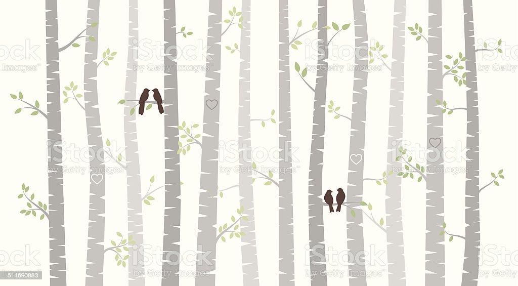 Vector Birch or Aspen Trees with Autumn Leaves vector art illustration