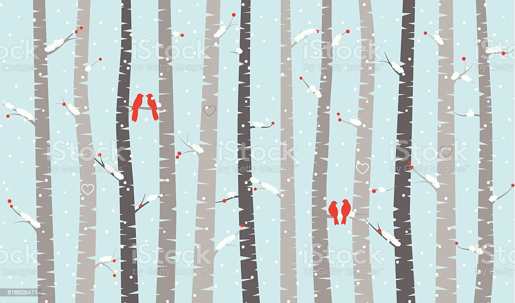 Vector Birch or Aspen Trees with Snow and Love Birds vector art illustration