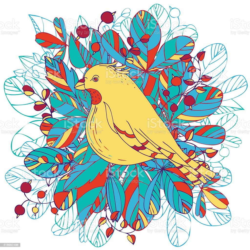 vector bird and leaves vector art illustration