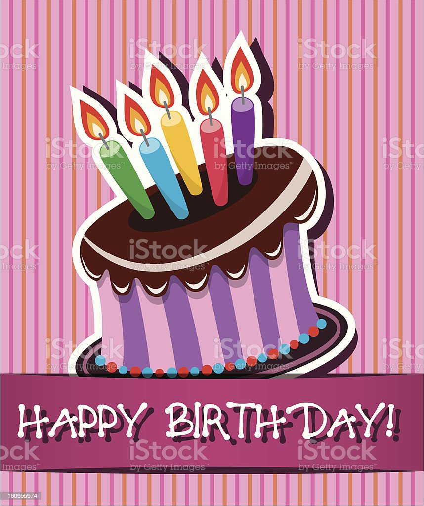 vector birthday card with chocolate cake royalty-free stock vector art