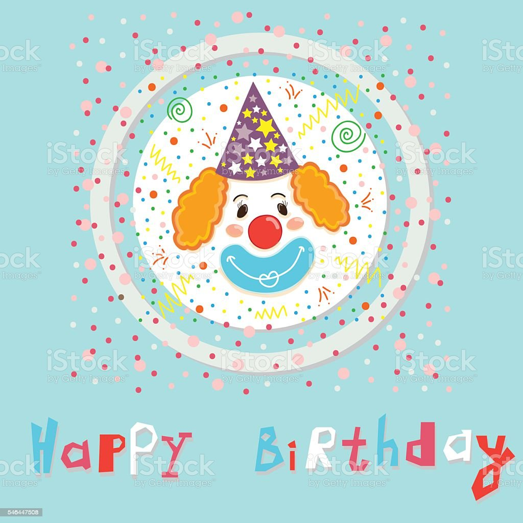 Vector birthday card with smiling clown vector art illustration