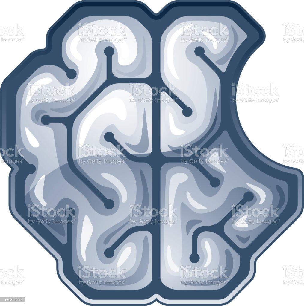 Vector bitten brain. Top view royalty-free stock vector art