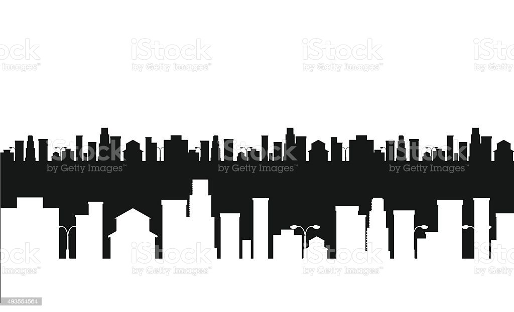 Vector black and white cities silhouette vector art illustration