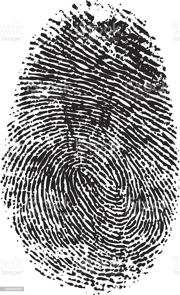 A vector black and white fingerprint royalty-free stock vector art