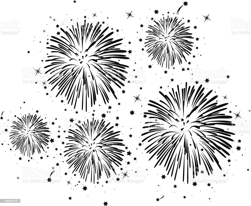 vector black and white fireworks royalty-free stock vector art