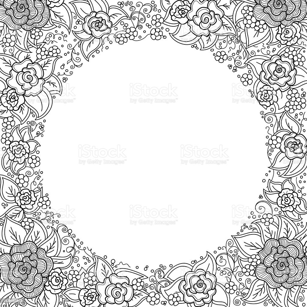 vector black and white floral pattern vector art illustration