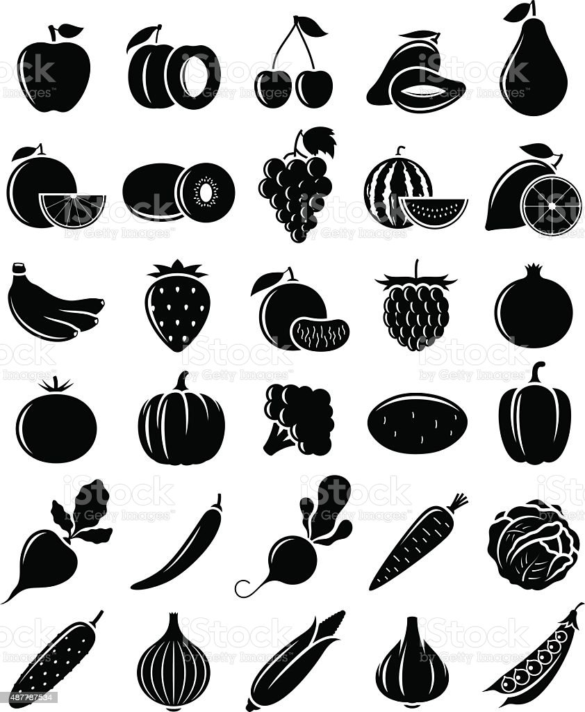 Vector Black and White Fruits and Vegetables Icons vector art illustration