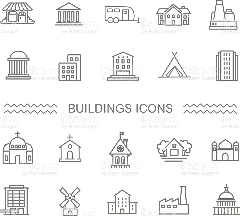 Vector - Black and white government buildings icons set vector art illustration