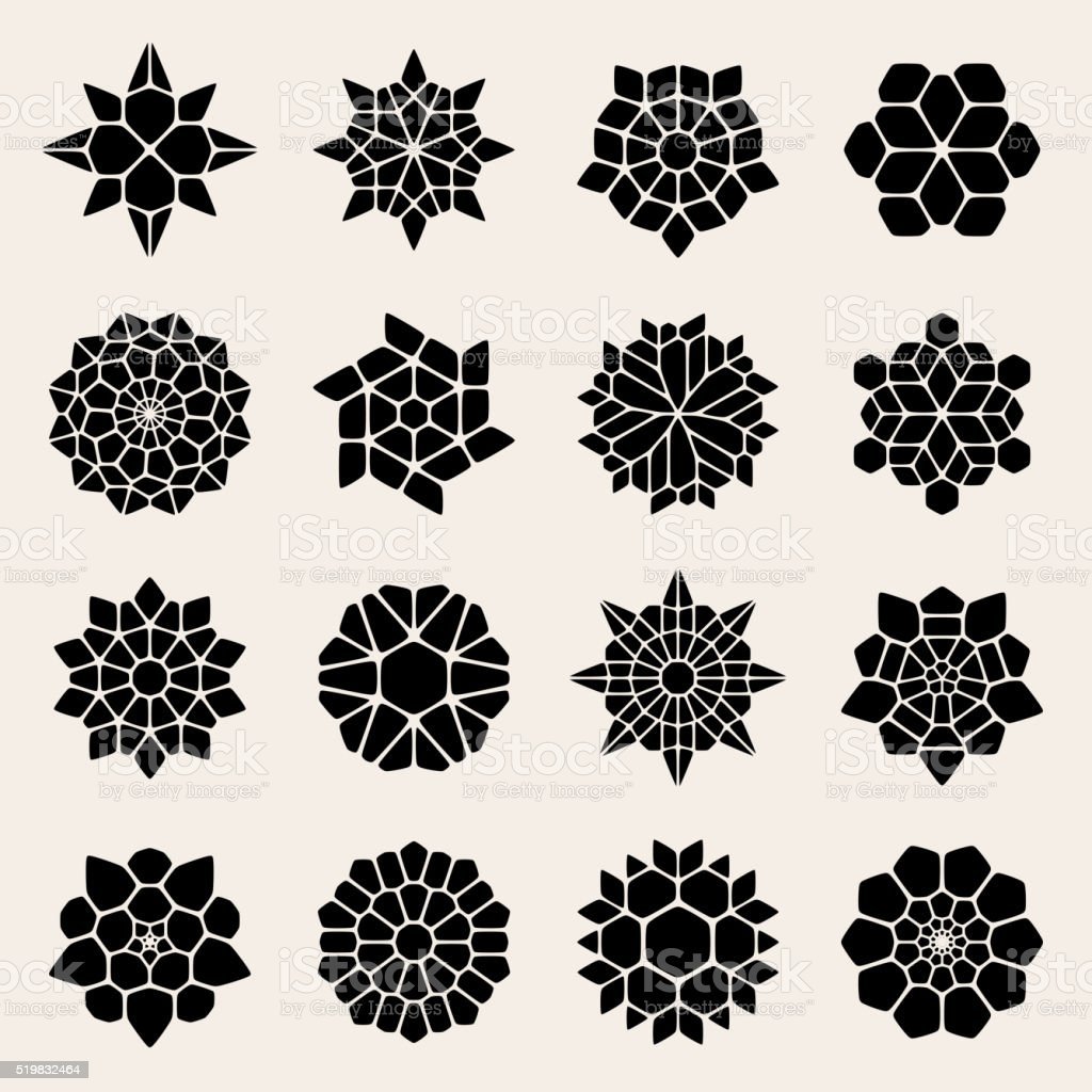 Vector Black And White Mandala Lace Ornaments vector art illustration