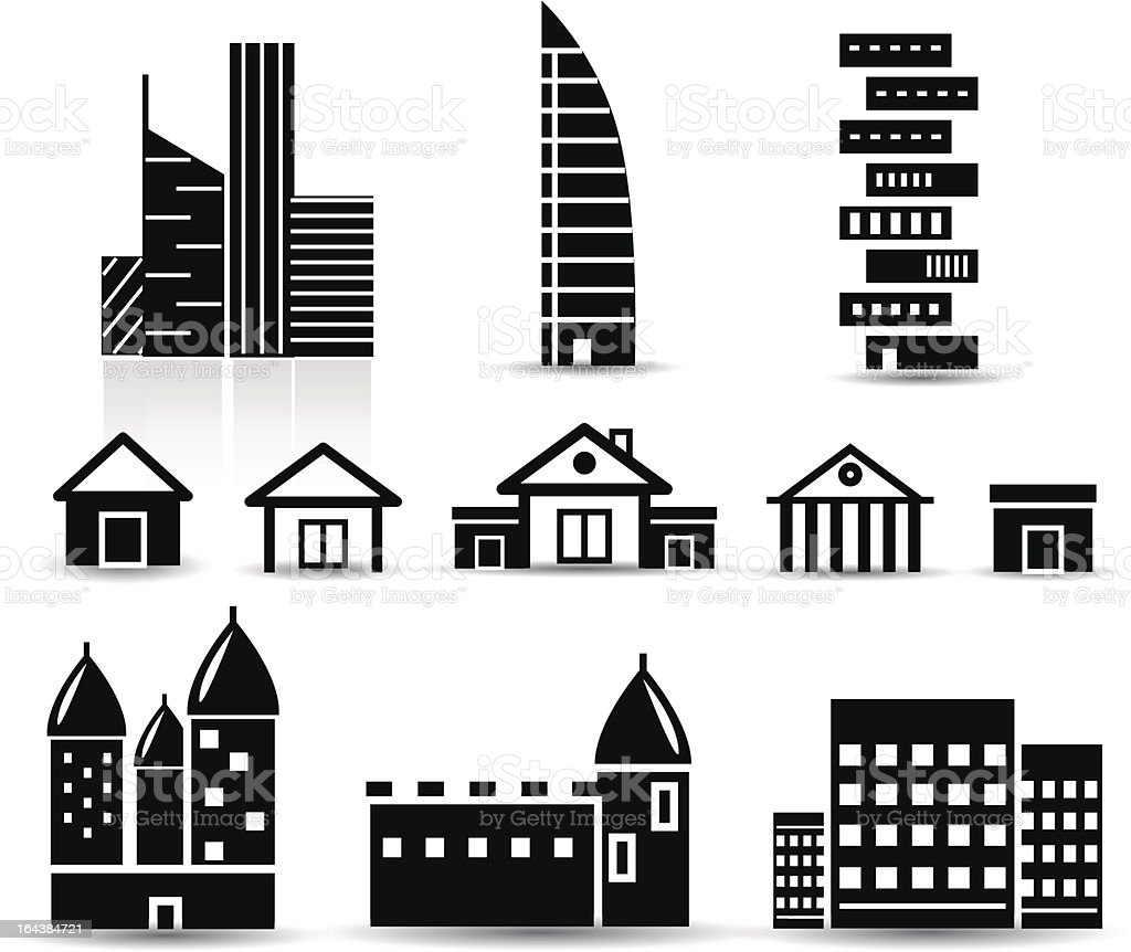 Vector black and white real estate icons vector art illustration