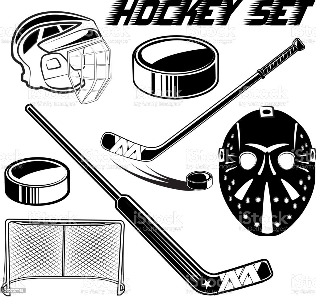 Vector black and white set objects game hockey design advertising web...