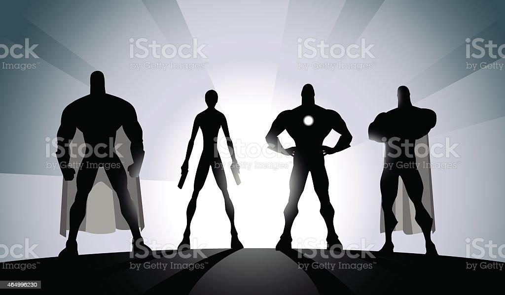 Vector Black and White Superhero Team Silhouette vector art illustration