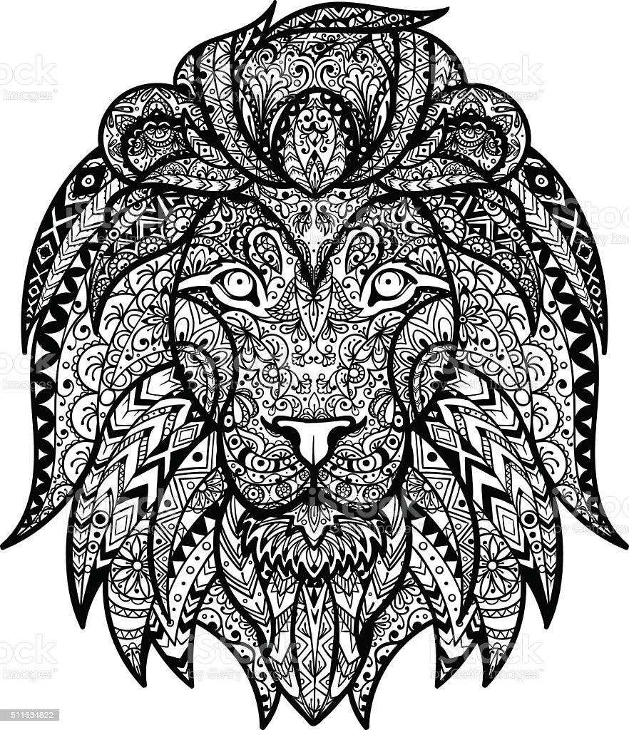 Vector Black and White Tattoo Lion Head Illustration vector art illustration