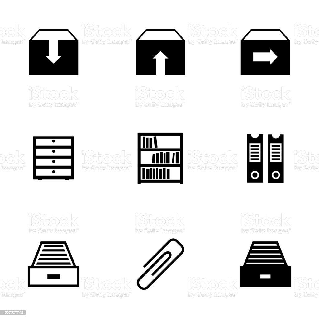 Vector black archive icons set vector art illustration