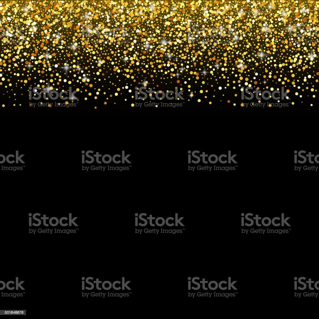 Vector black background with gold glitter sparkle, greeting card ...