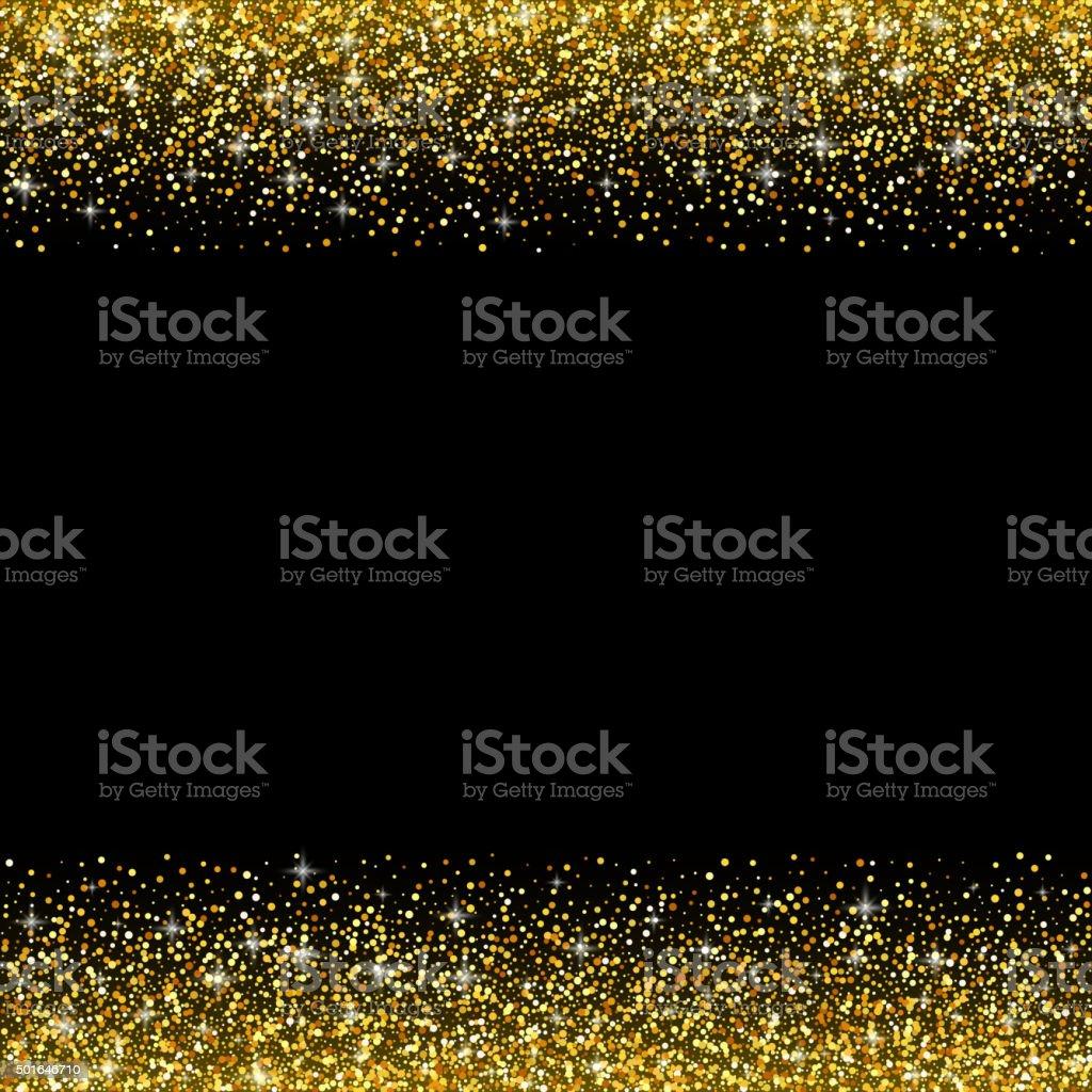 Vector black background with gold glitter sparkle, template vector art illustration