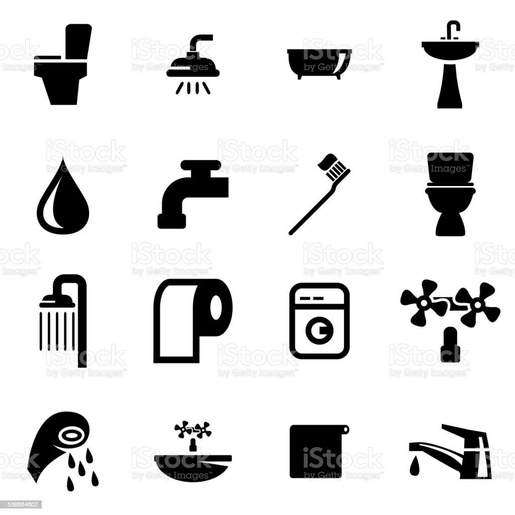 Vector black bathroom icon set vector art illustration
