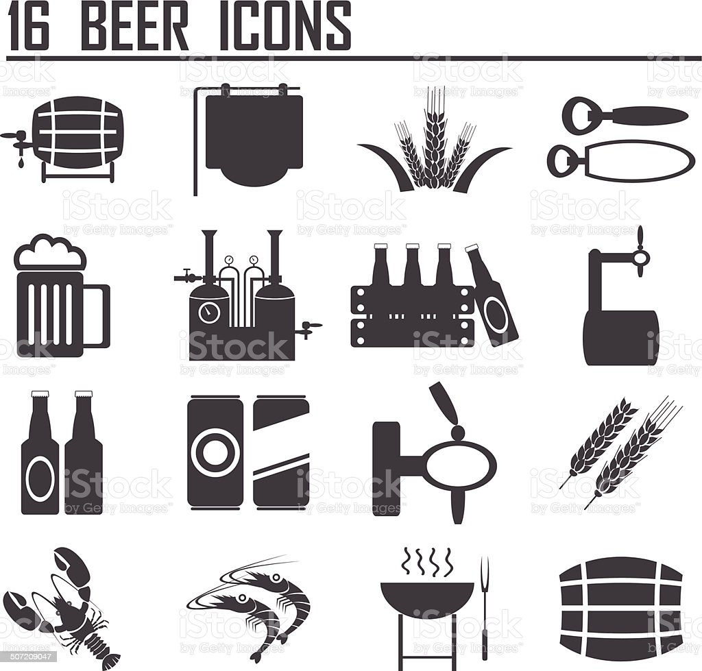 16 Vector black beer icons set. royalty-free stock vector art