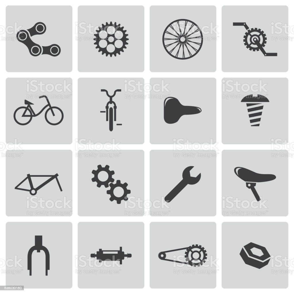 Vector Black Bicycle Part Icons Set vector art illustration