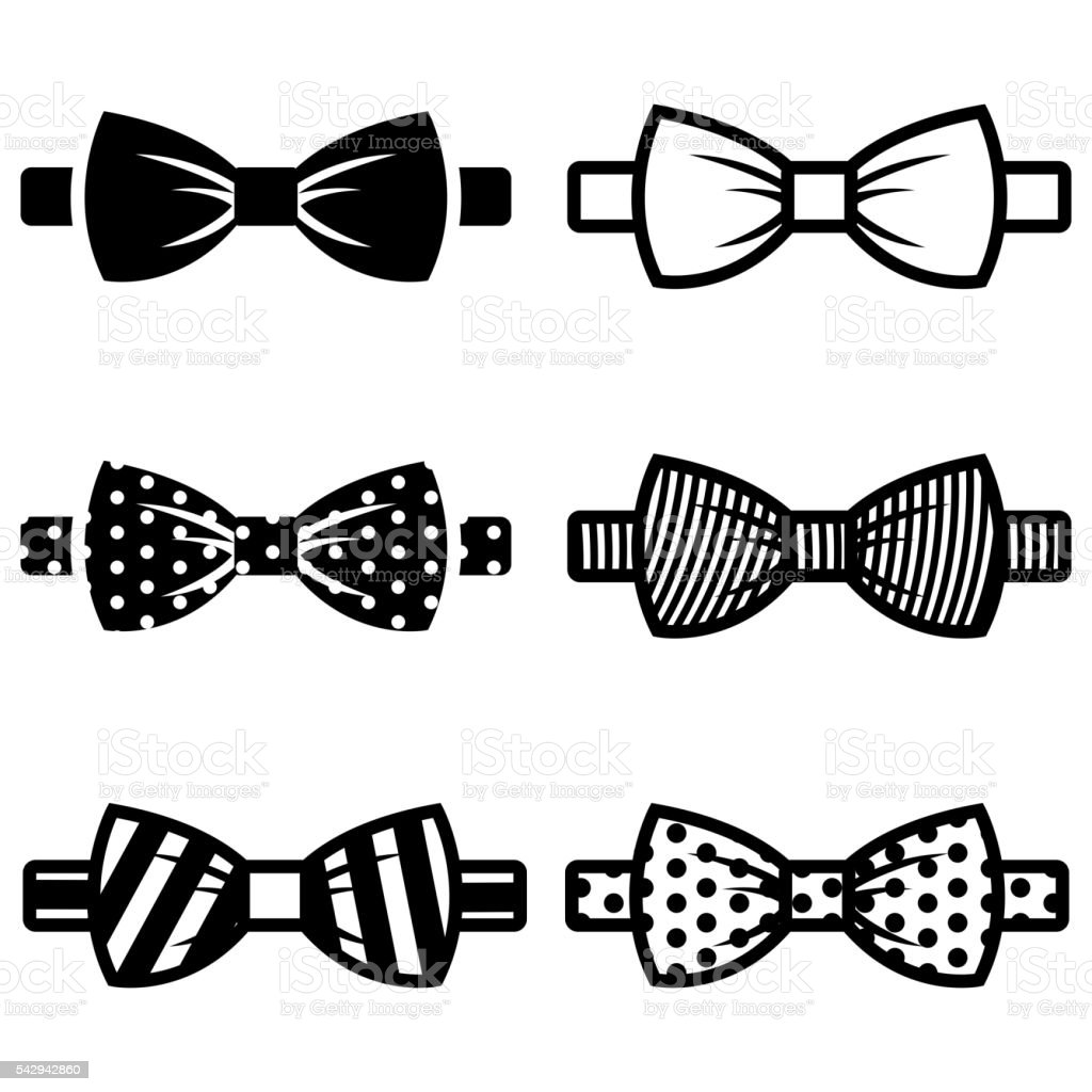 Vector black bow ties icons set vector art illustration