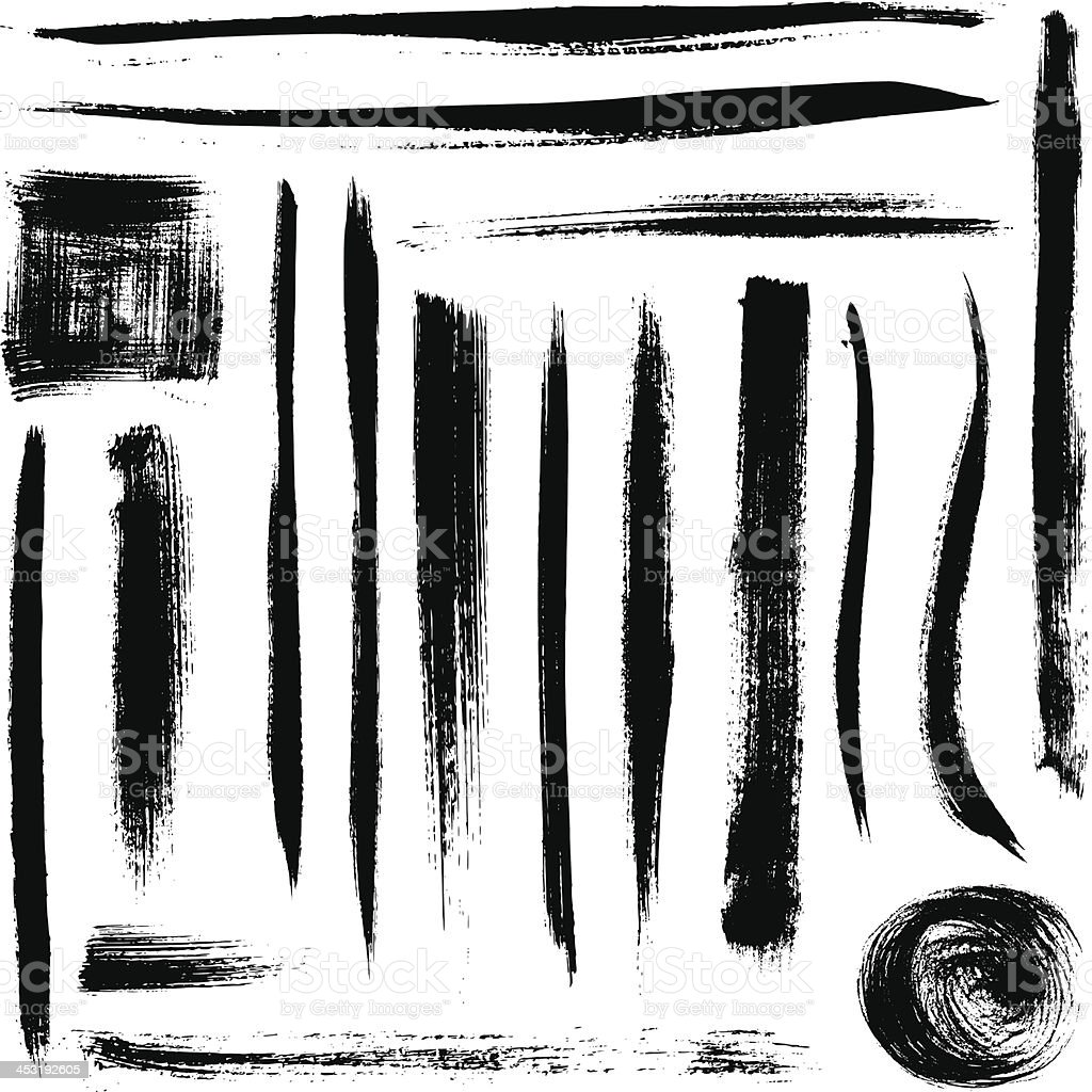 vector black brush strokes collection vector art illustration