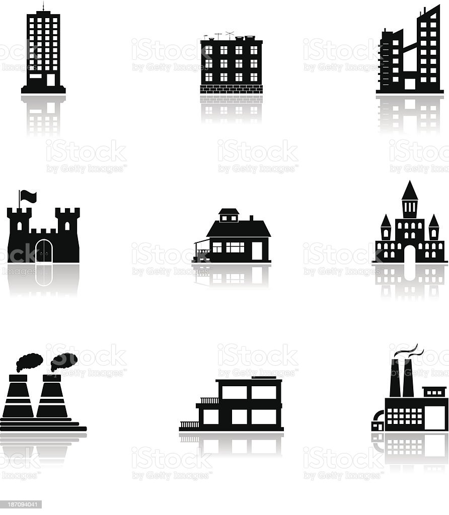 vector black buildings and factories icons set on white royalty-free stock vector art