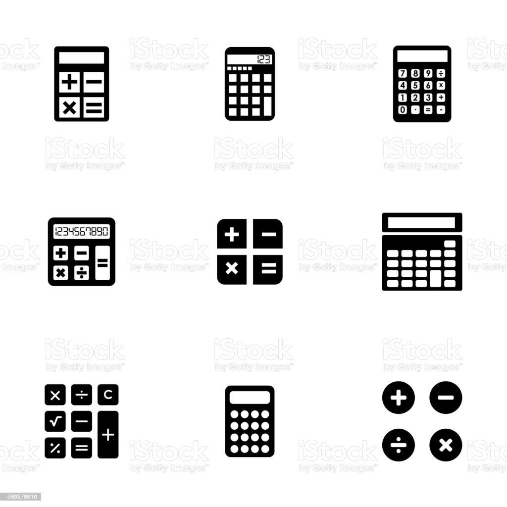 Vector black calculator icons set vector art illustration