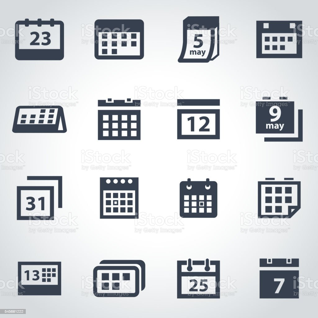 Vector black calendar icon set vector art illustration