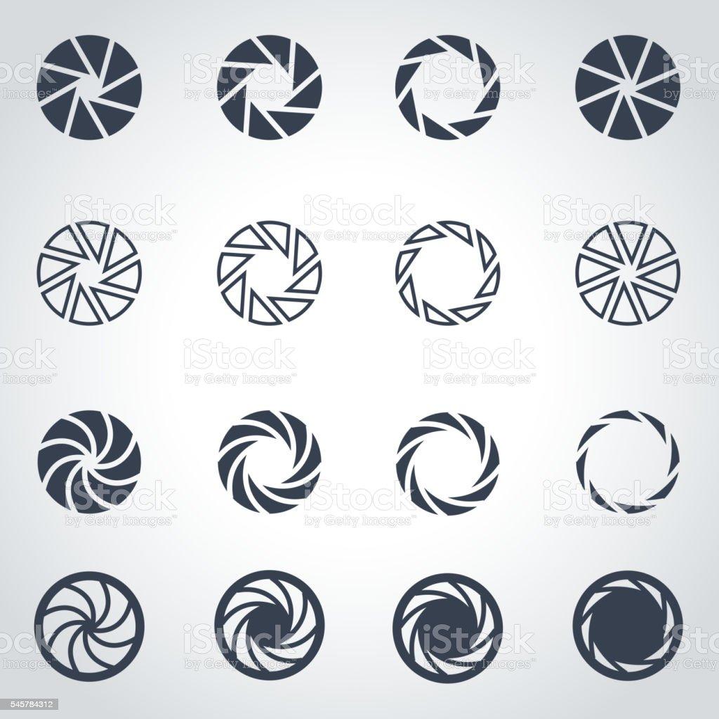Vector black camera shutter icon set vector art illustration