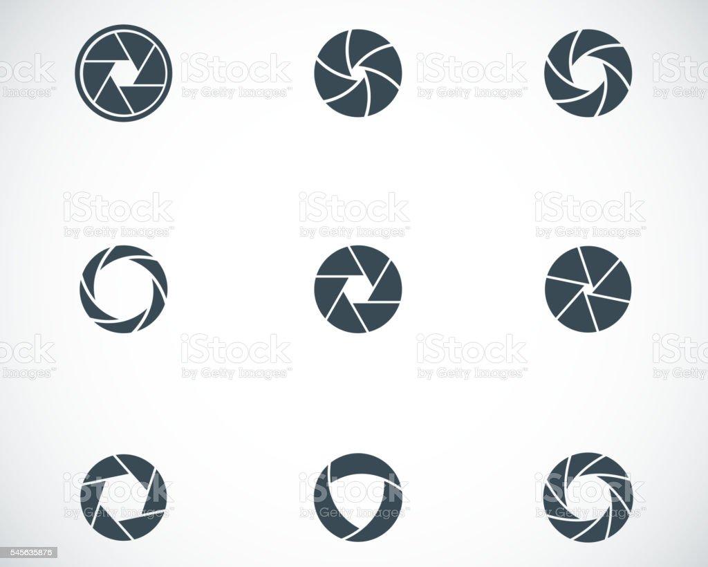 Vector black camera shutter icons set vector art illustration