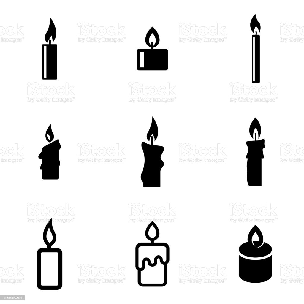 Vector black candles icon set vector art illustration