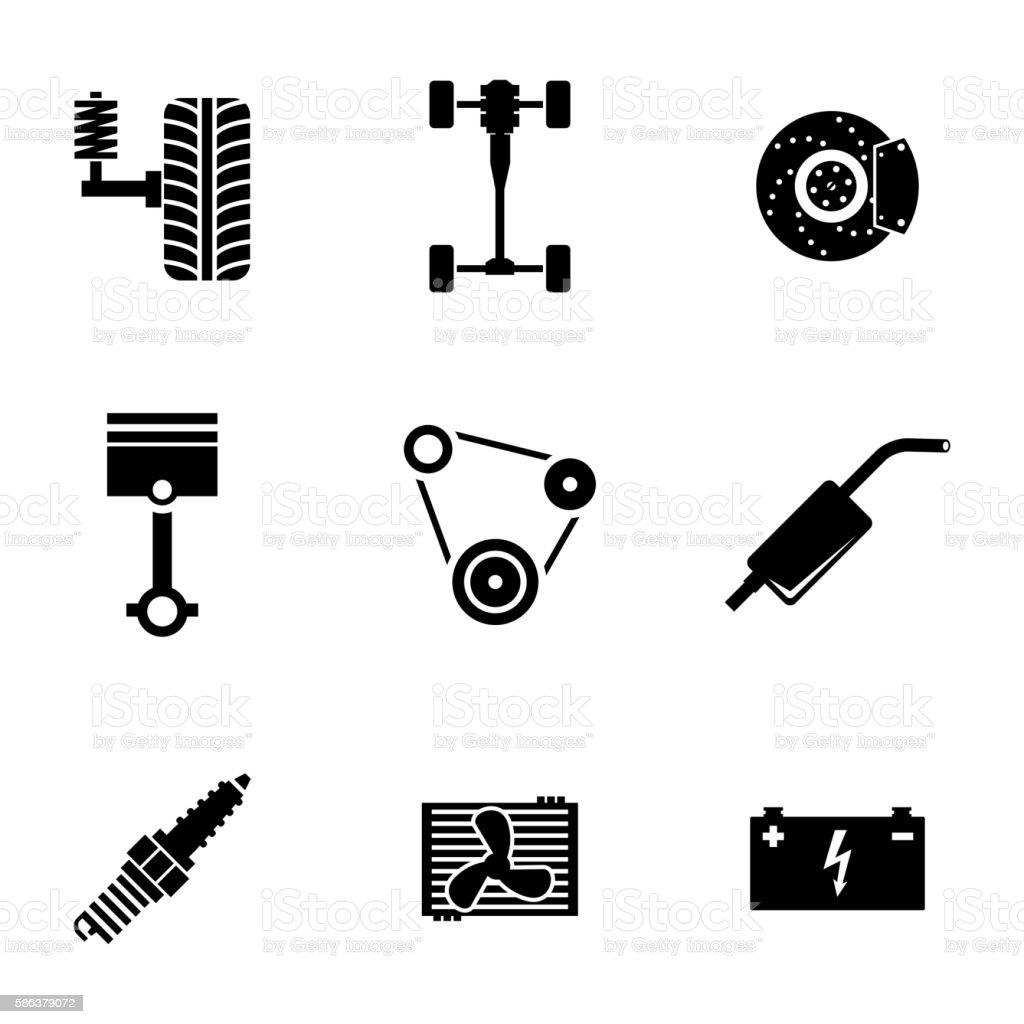 Vector black car parts icons set vector art illustration