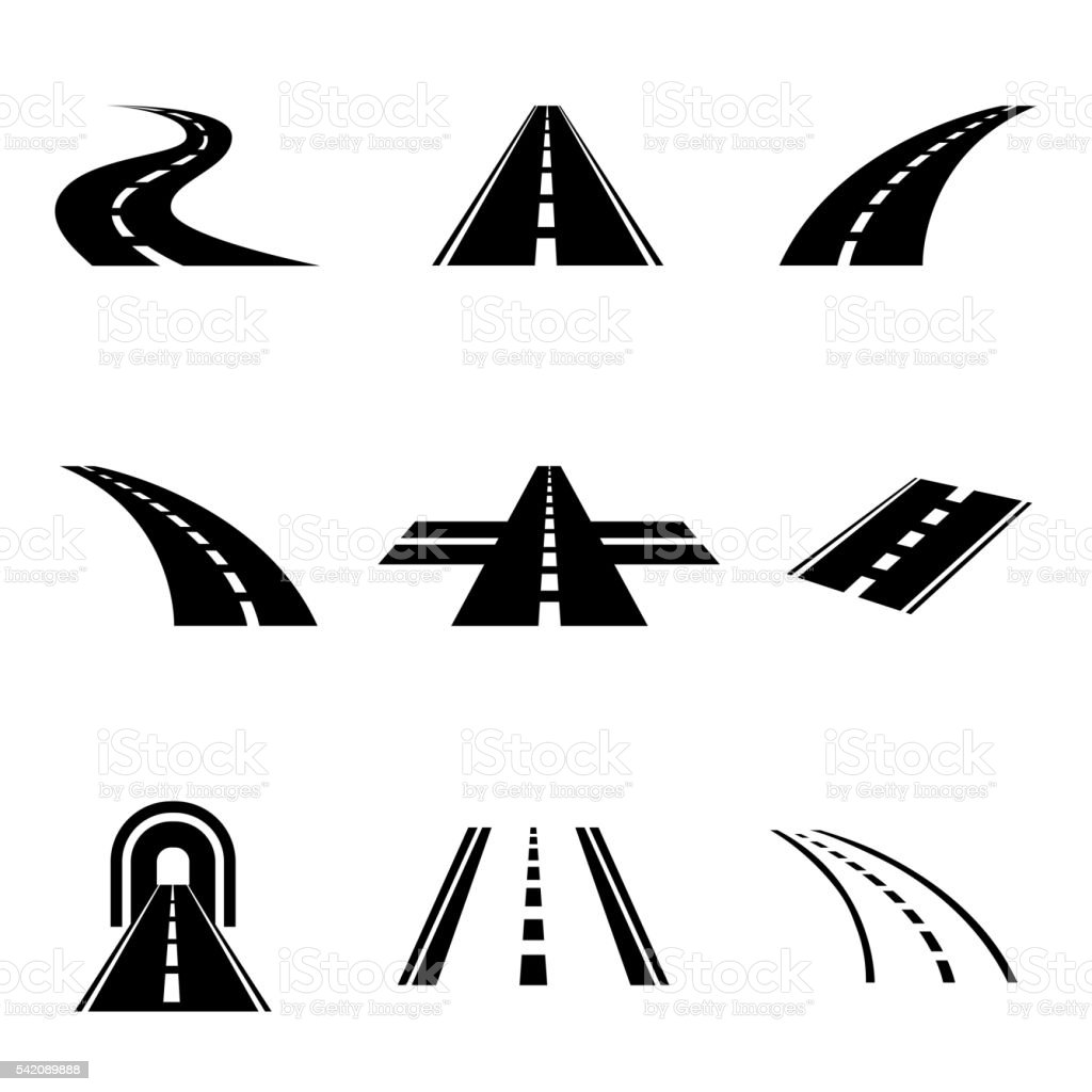 Vector black car road icons set vector art illustration