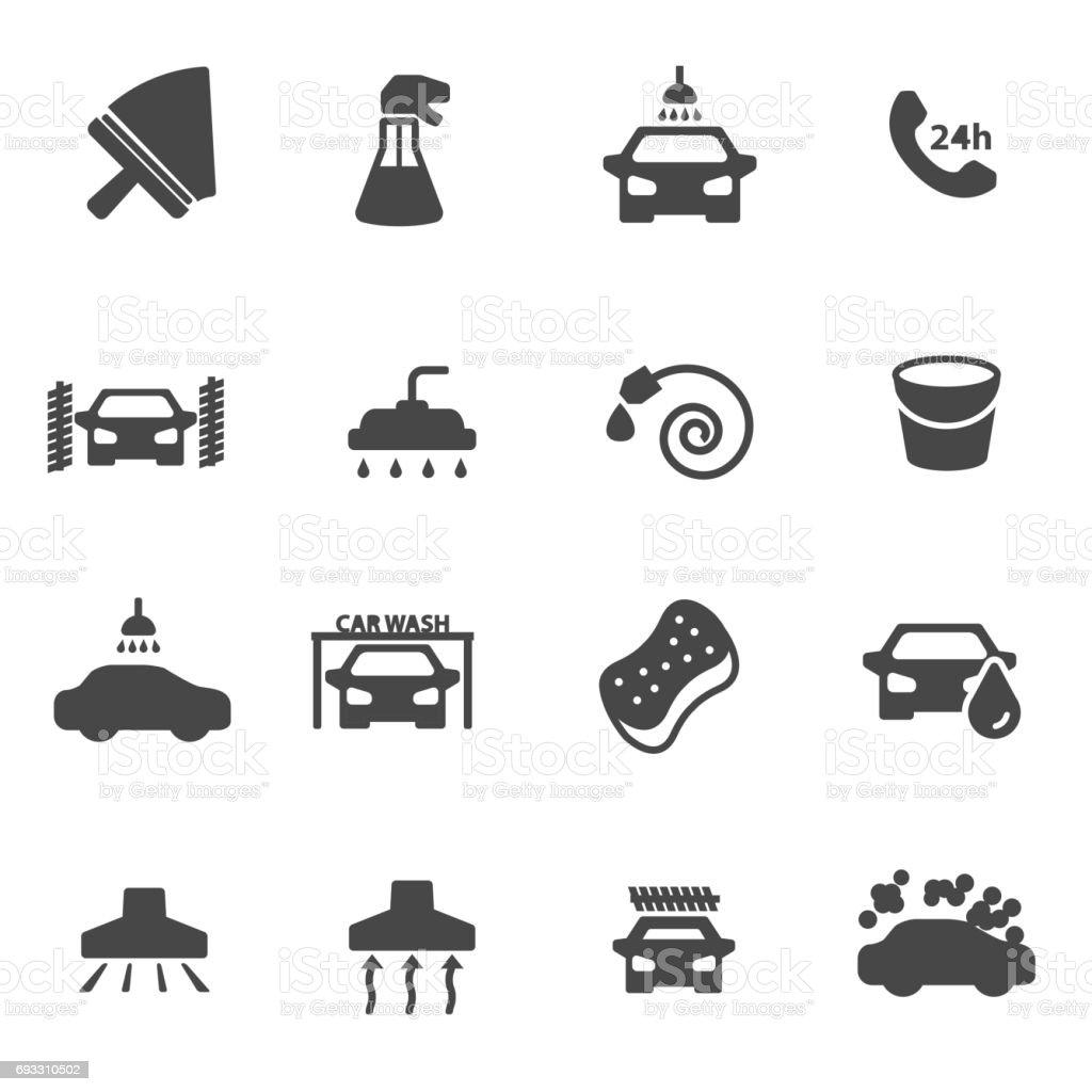 Vector black car wash icons set vector art illustration
