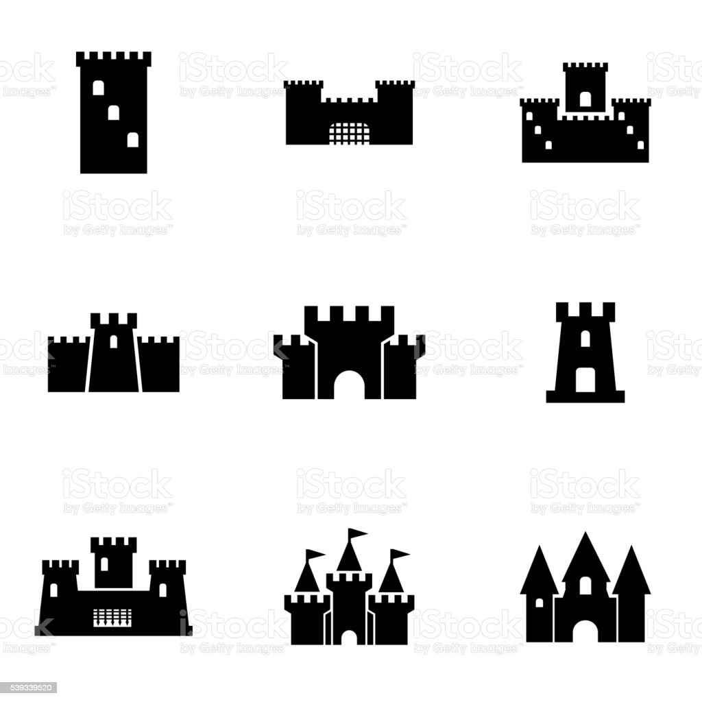 Vector black castle icon set vector art illustration
