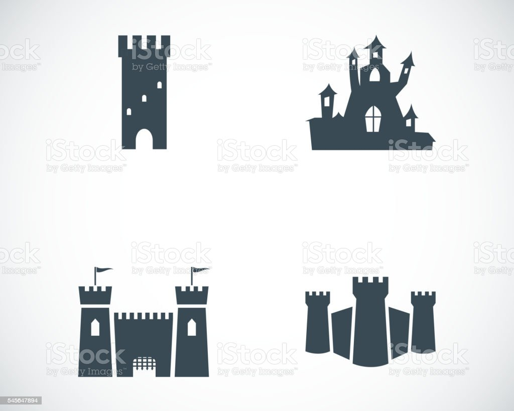 Vector black castle icons set vector art illustration